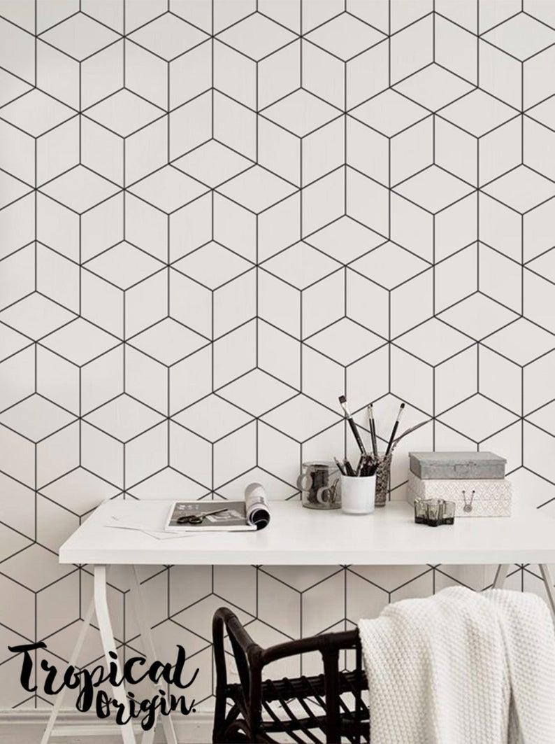 Linear Shapes Removable Wallpaper Black Regular Lines Etsy Removable Wallpaper Geometric Wall Decor Fantastic Wallpapers