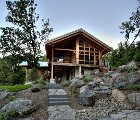 Modern style timber frame Rehkamp Larson Architecture Gables