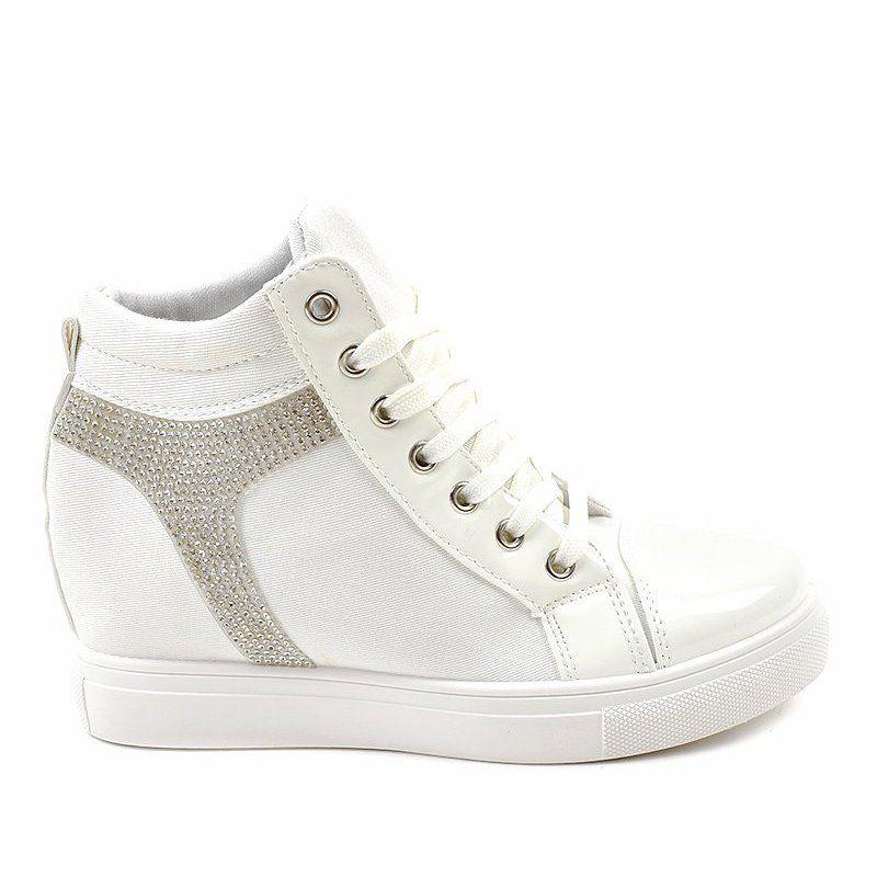 Botki Damskie Butymodne Biale Sneakersy Na Koturnie Z Cekinami An2959 White Wedge Sneakers Wedge Sneakers Sneakers