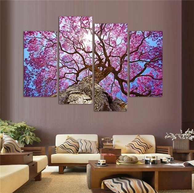 Cherry blossom painting 4 panel wall canvas wall canvas for Cherry blossom mural on walls