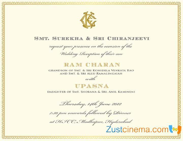Wedding Cards Ap India Hyderabad Ram Charan Wedding Invitation