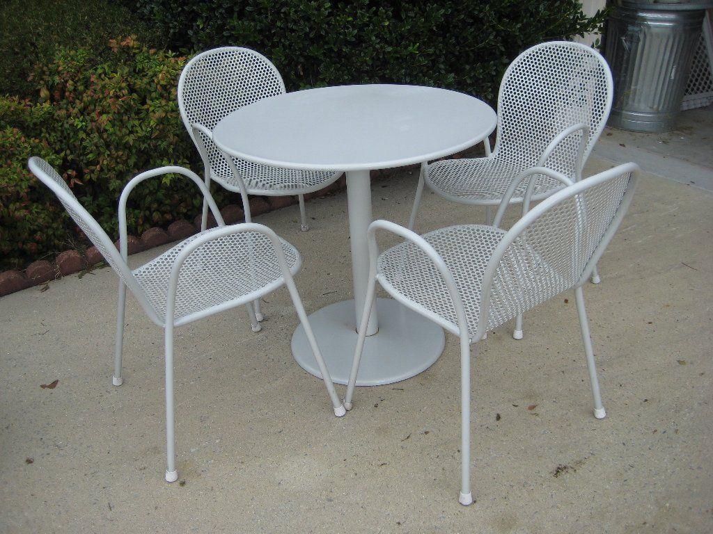 5 Piece Metal Outdoor Patio Dining Set Wicker Dining Set