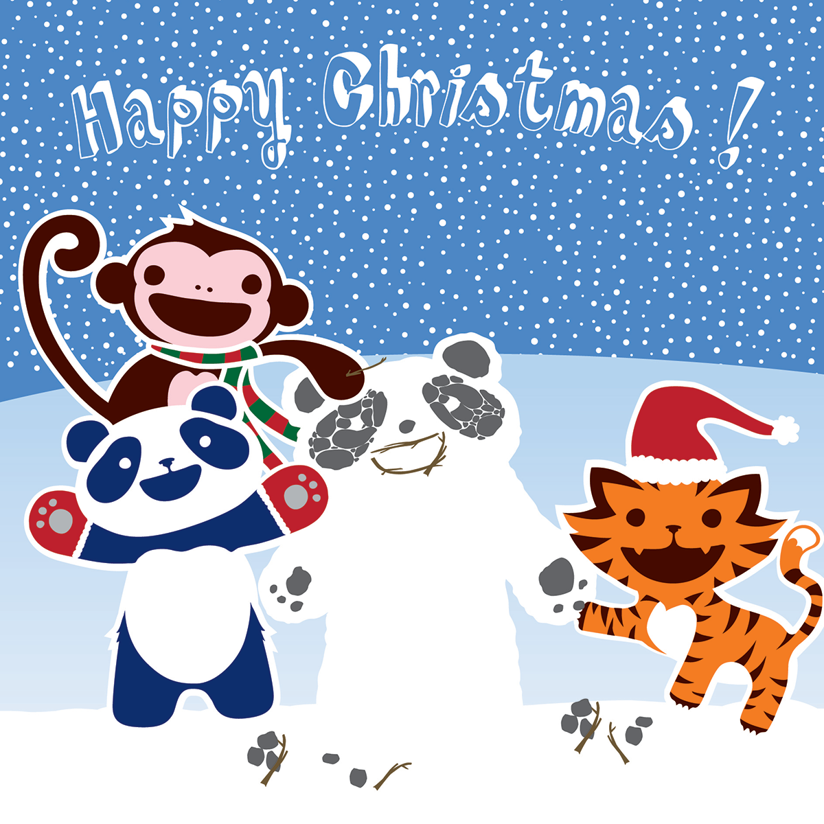 Pack of 10 140mm x 140mm WWF Fun in the Snow Christmas cards with ...