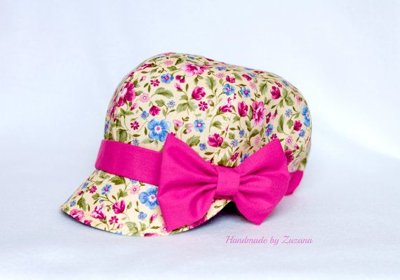 Newsboy REVERSIBLE fabric hat for girls, baby, black and yellow floral print fabric hat  with detachable pink bow