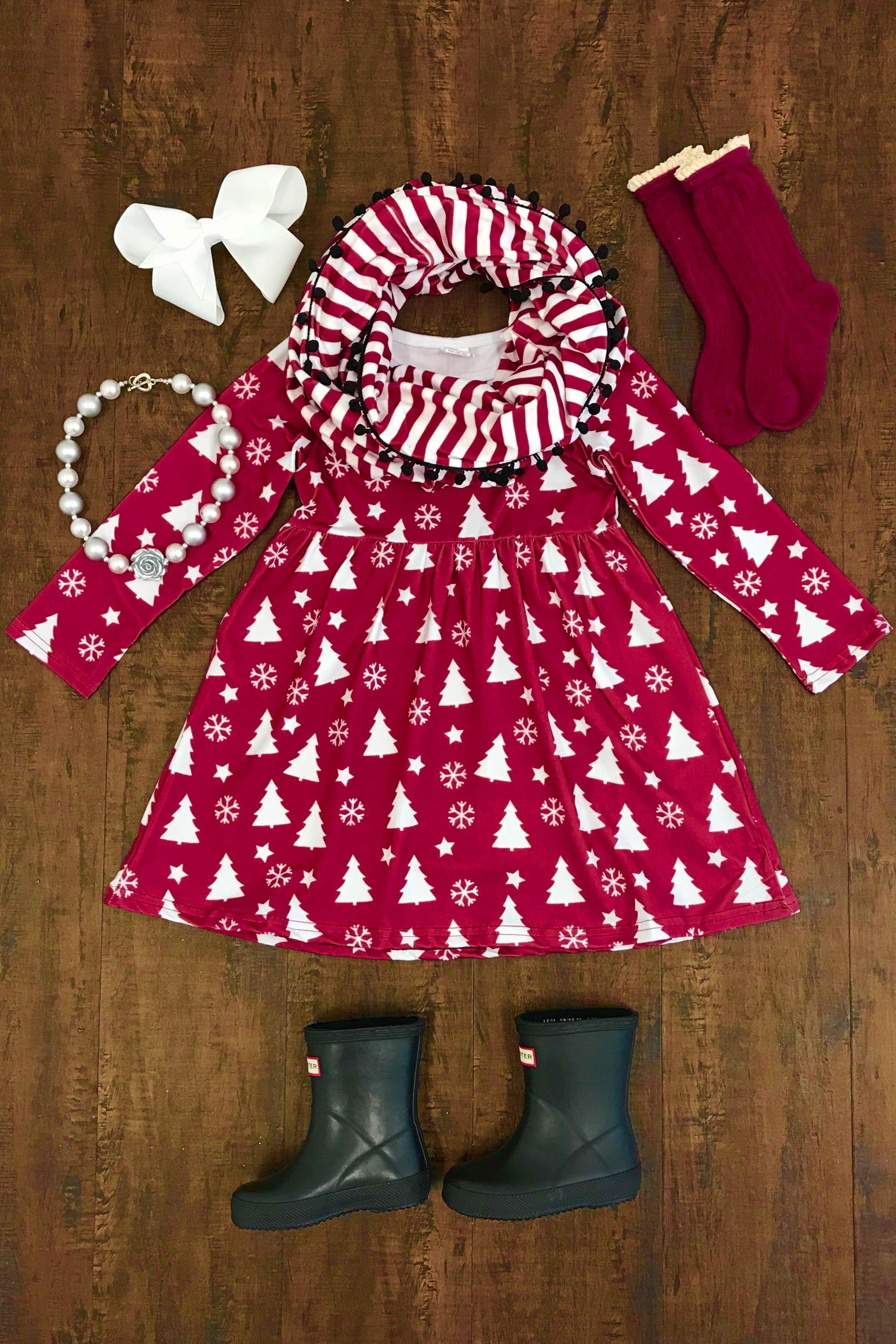 29dcf6dc8 Winter Wonderland Burgundy Dress | sewing inspiration | Dresses ...