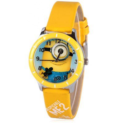 Popular Women Watch Analog with Minion Round Dial Leather Watch Band-4.73 and Free Shipping| GearBest.com