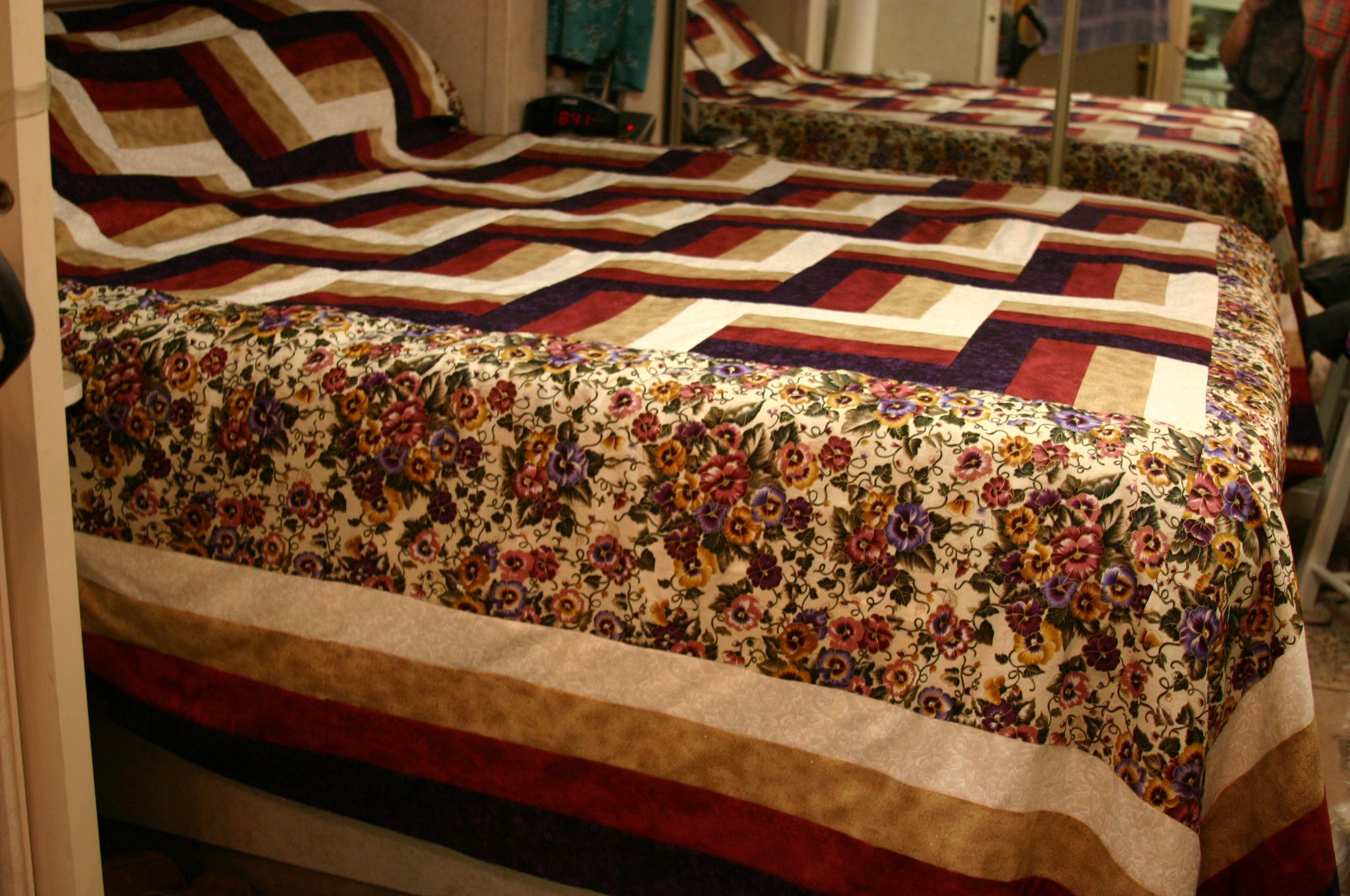 Rail Fence King Quilt ... pansies ...   Rail fence quilt ...