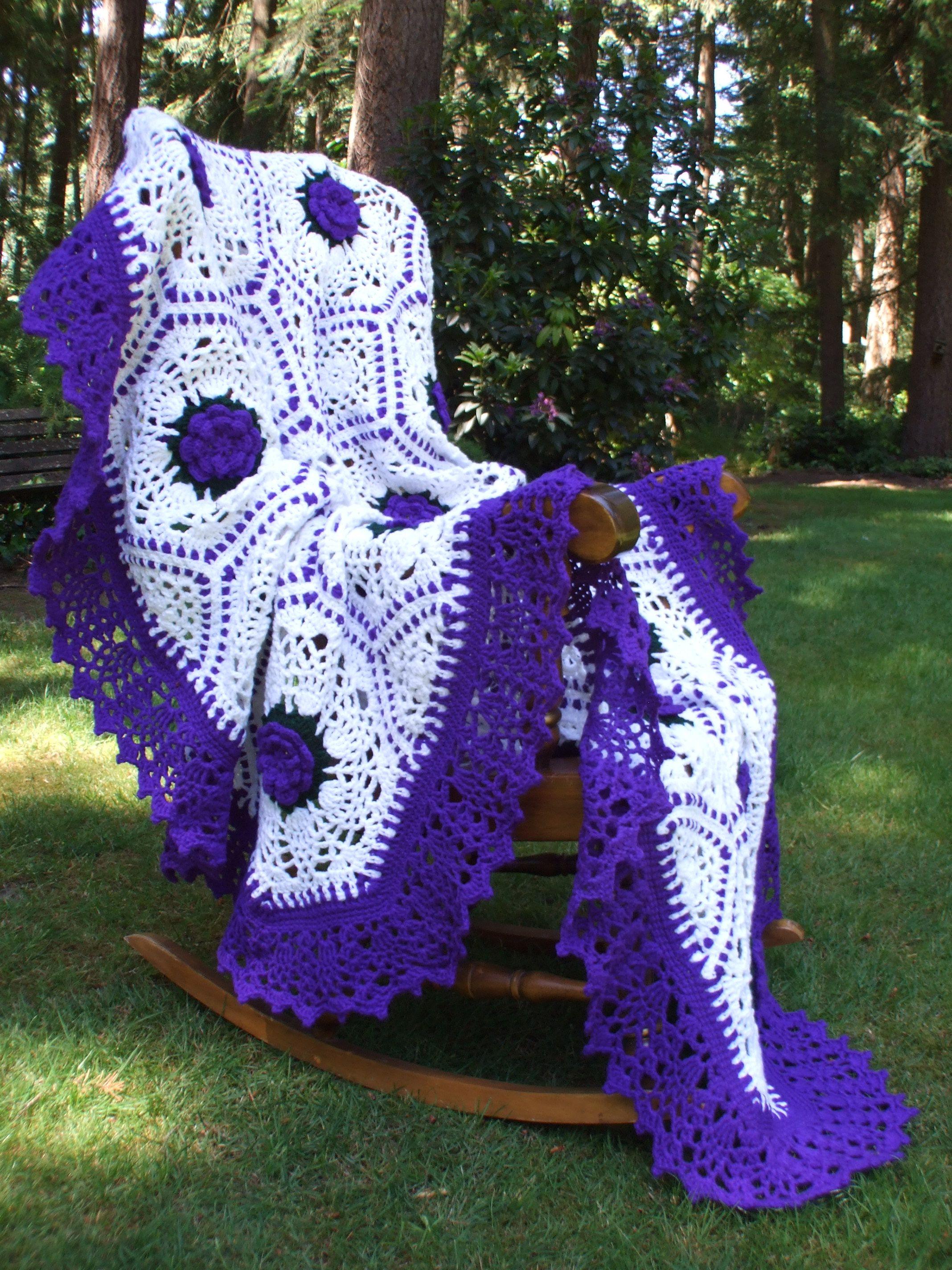 allnineskr\'s Purple Ribbons and Pineapple Rose Afghan   Call maggie ...