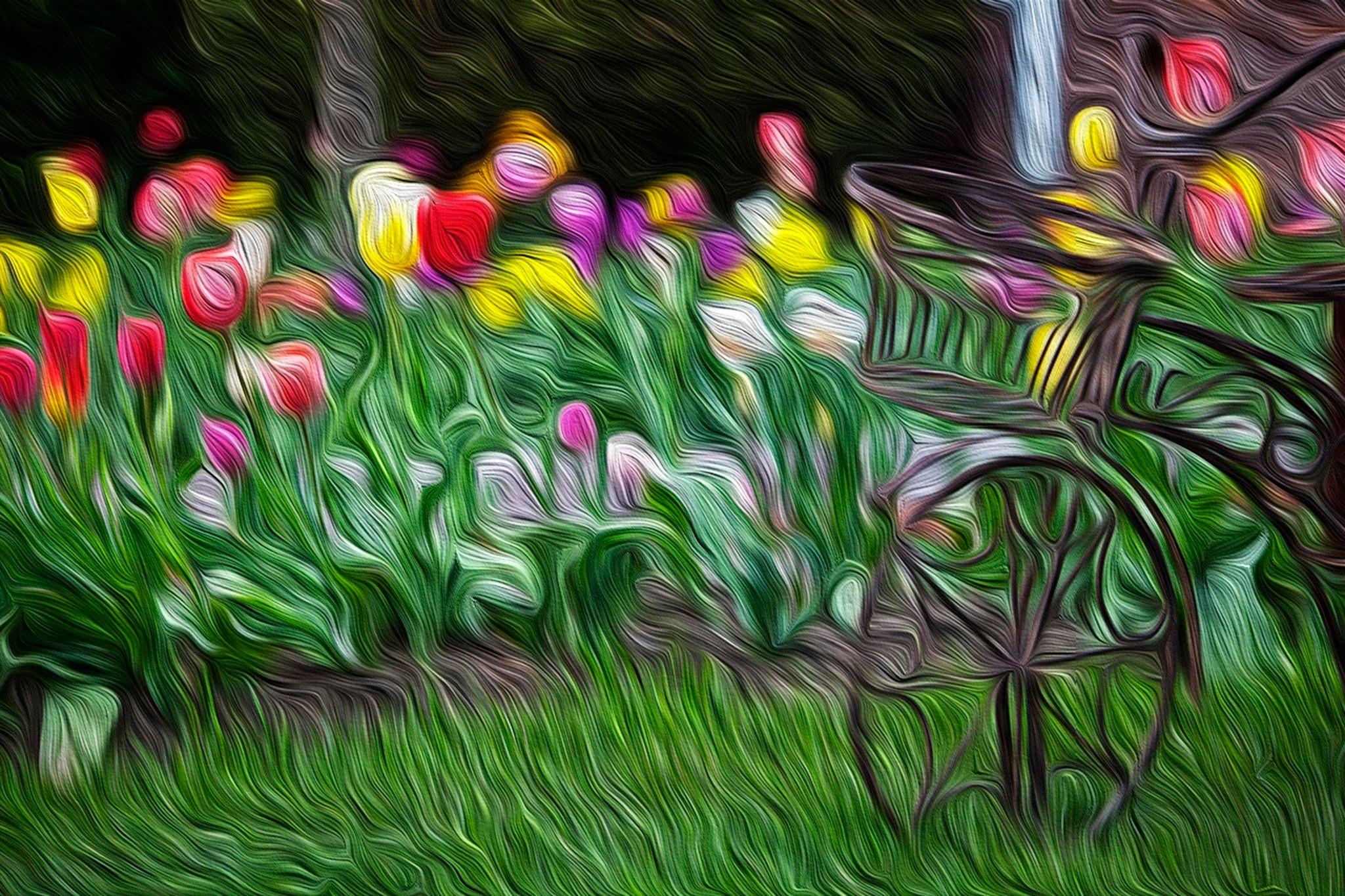 Garden - Flowers in the spring garden. Photoimpressionism