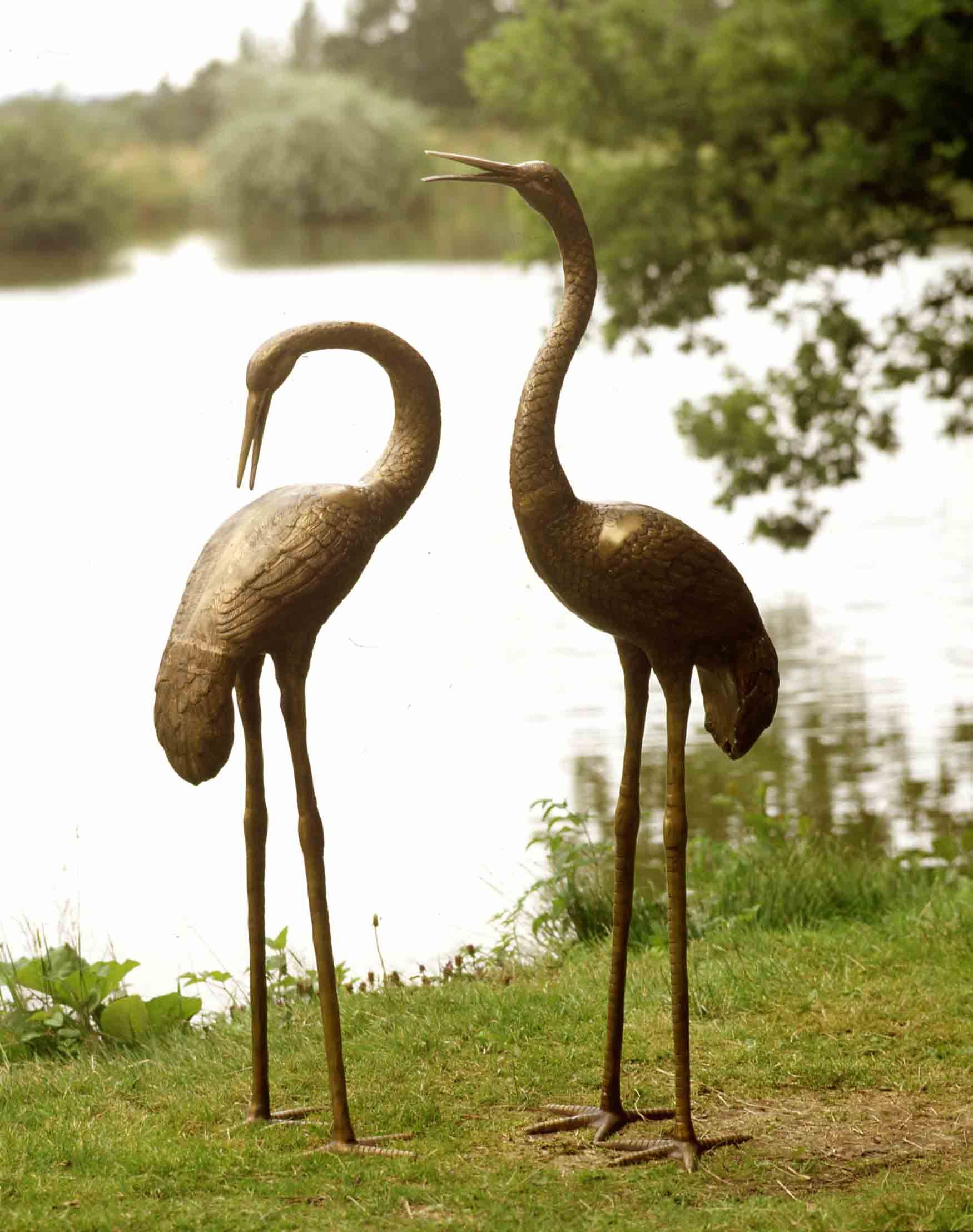 Heron garden ornament - Large Brass Crane Statuary And Ornaments