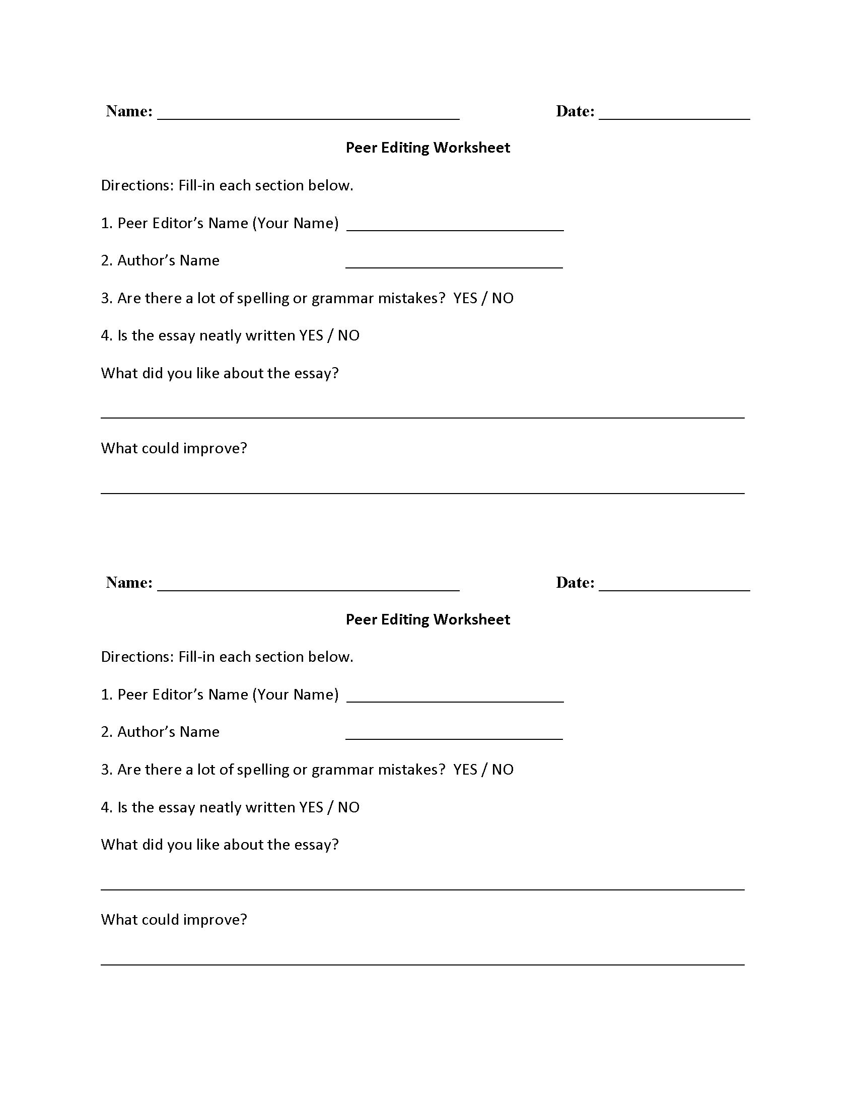 Peer Editing Half Sheet Worksheet