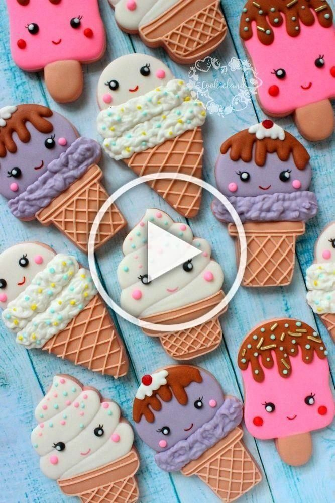 cream cone Kawaii decorated sugar cookies for birthday party. Soo cute! -Ice cream cone Kawaii deco
