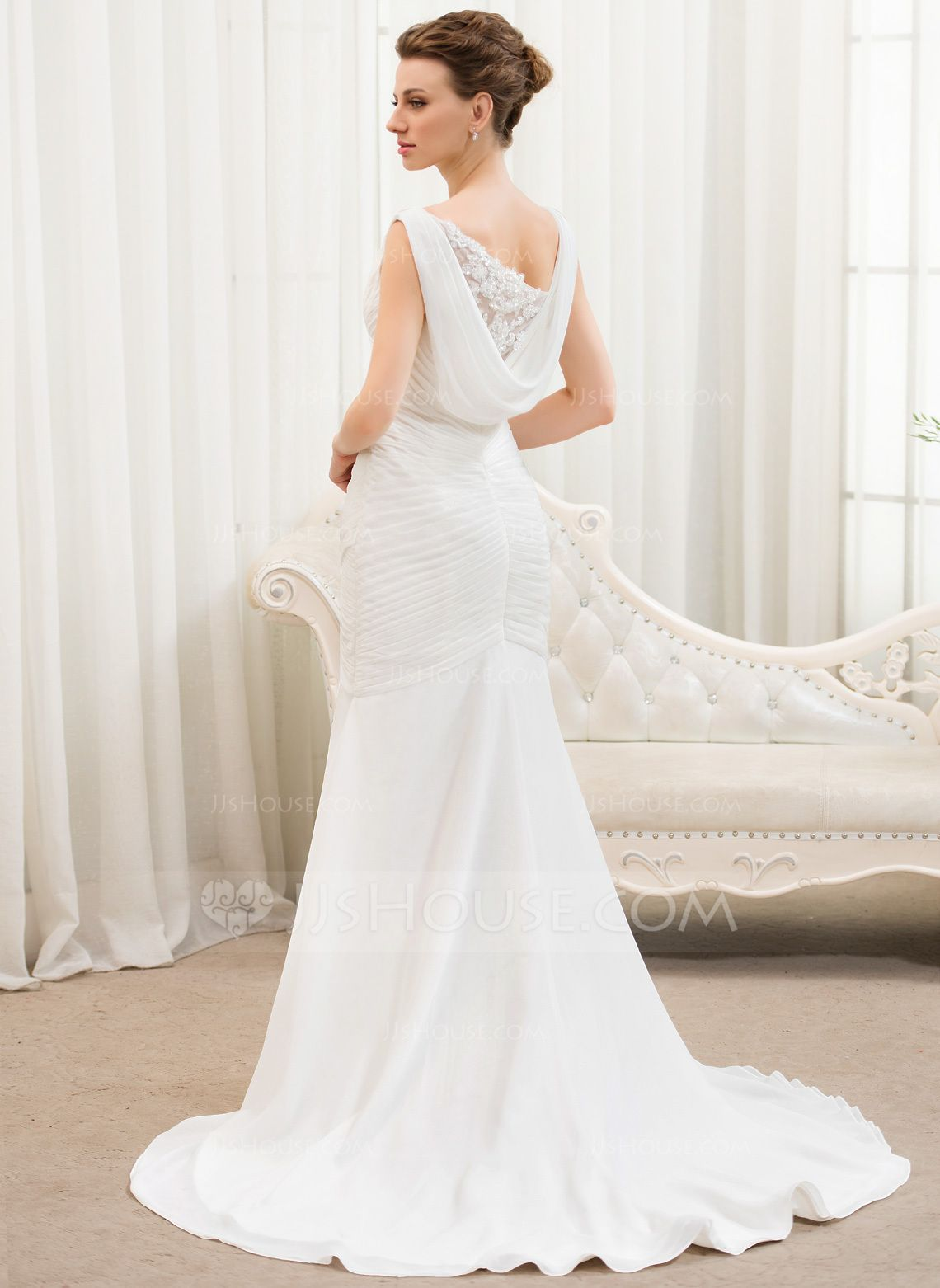 Trumpetmermaid vneck court train chiffon tulle wedding dress with