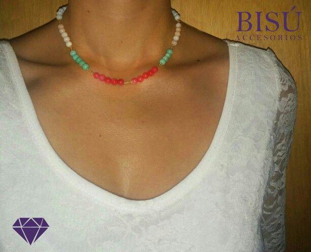 El Collar perfecto para ti!!! #Colores #casualyelegante #hechoamano #Bisú #gargantilla #collar