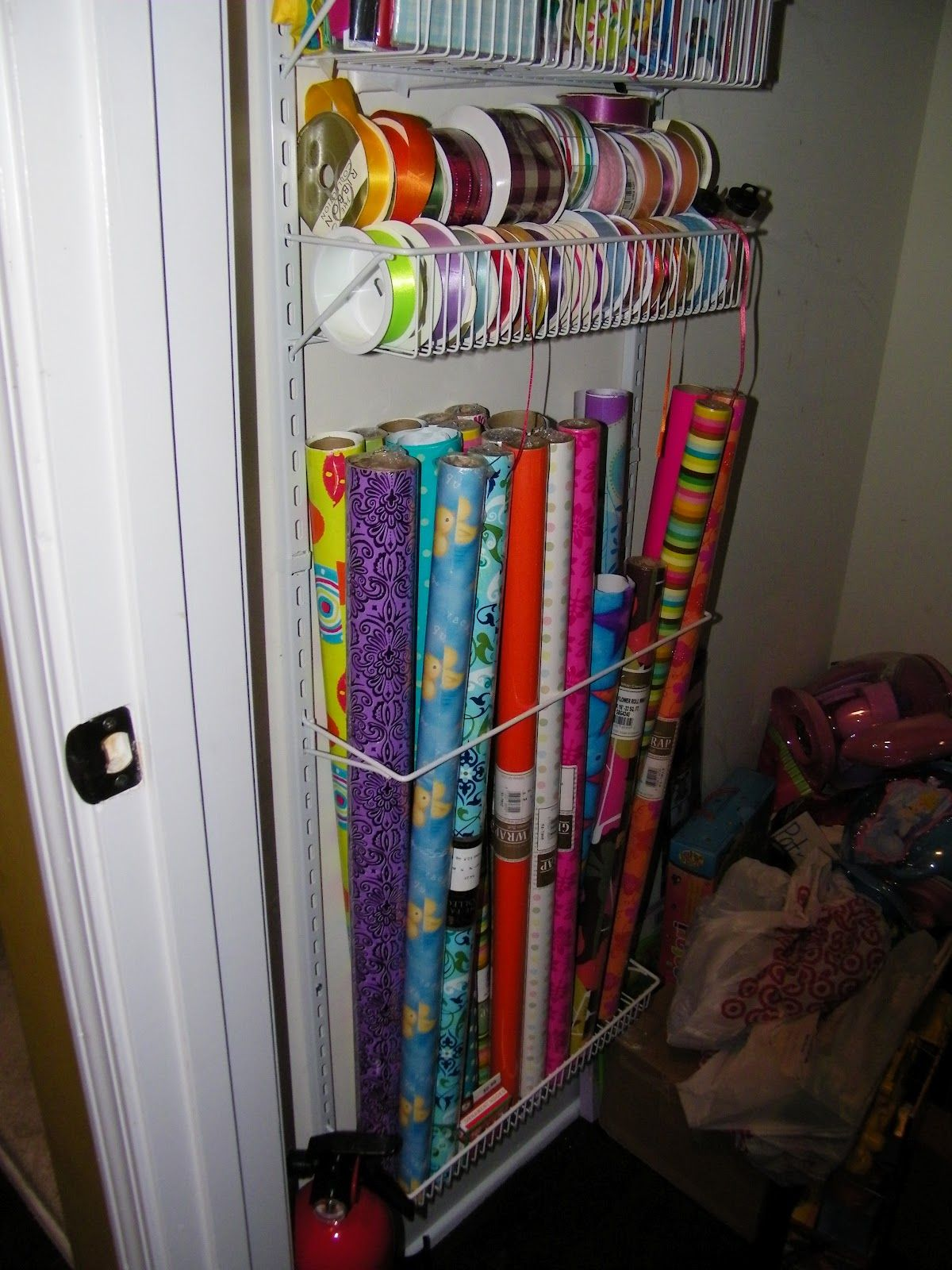 Wrapping Paper Storage Container Organizer Please ignore the bags
