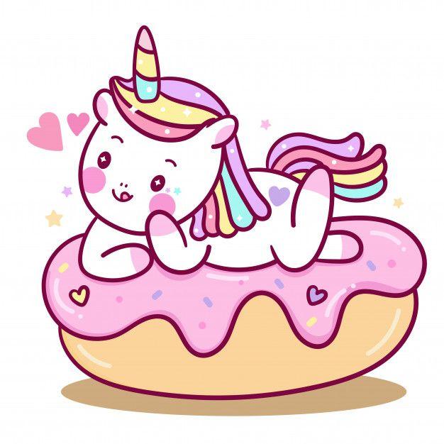 Cute Unicorn Vector On Cake Cartoon in 2020 | Cute unicorn ...