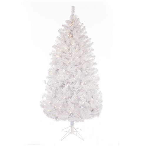 Gerson 7-ft. Light-up Montana Pine Artificial White Christmas Tree ...