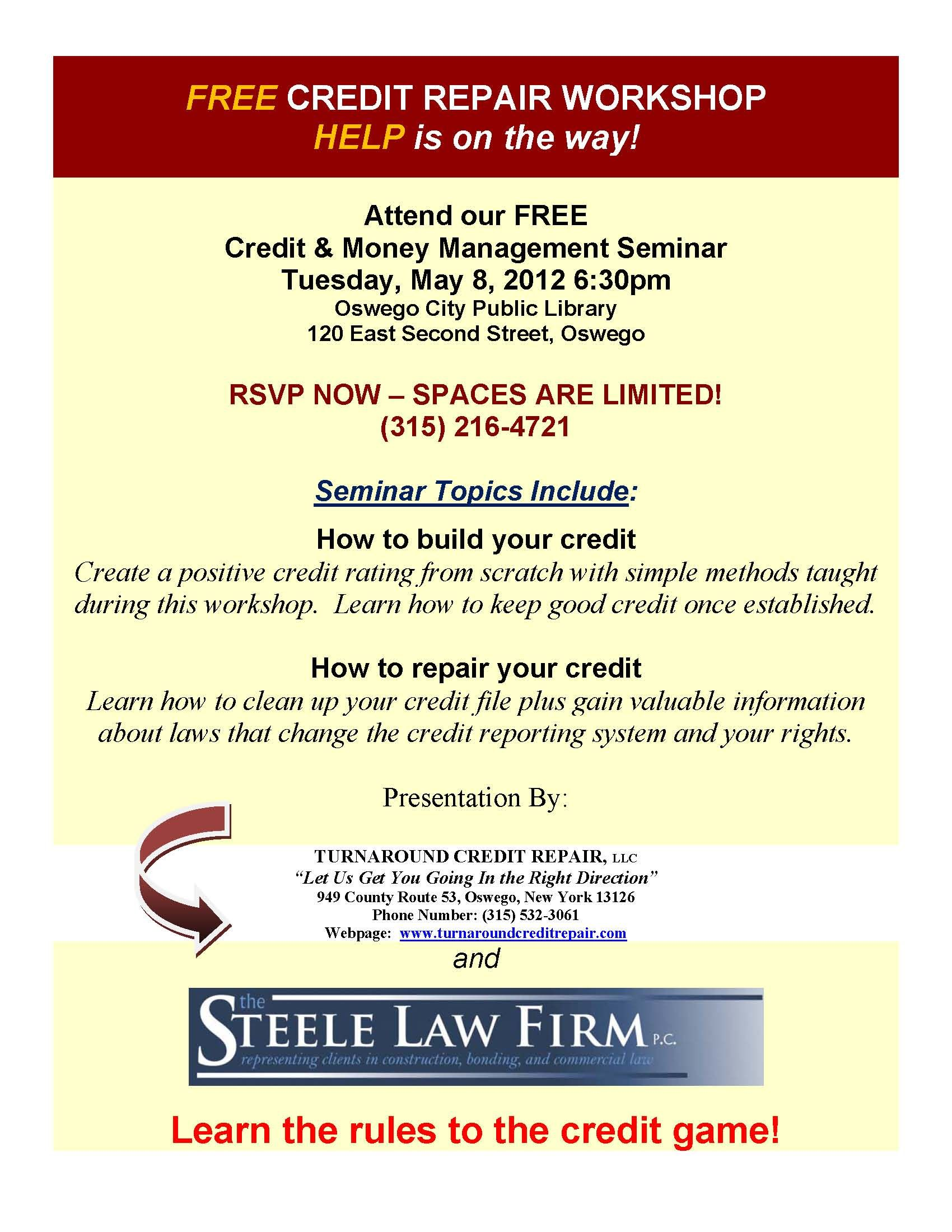 Credit Repair Seminar Flyers Credit Repair Secrets Exposed Here