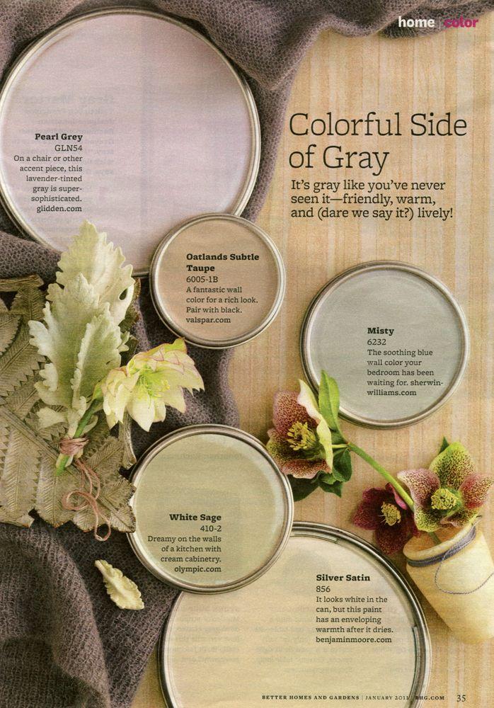 January Colorful Side Of Gray Better Homes Gardens Color Palette Pearlgrey Oatlandssubtletaupe Misty Whitesage Silversatin