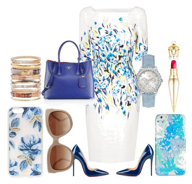 """Blues"" by fashion-house-boutique on Polyvore featuring L.K.Bennett, Prada, GUESS, Christian Louboutin, Ashley Pittman, Vera Bradley, Sonix and STELLA McCARTNEY"