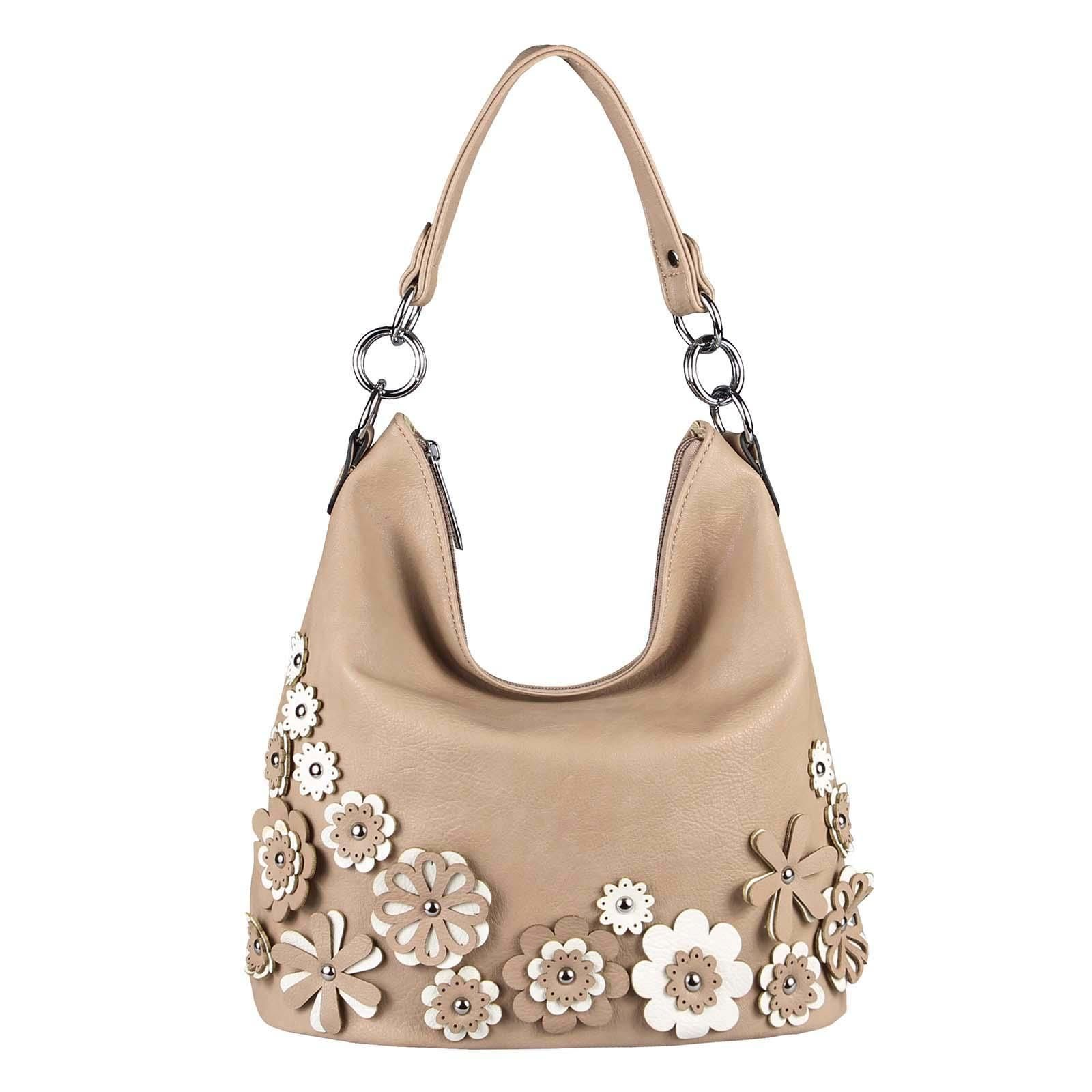 Photo of WOMEN'S HAND BAG HOBO-BAG shoulder bag shoulder bag shopper handle bag bucket bag CrossOver FLOWER-BAG flower applications taupe