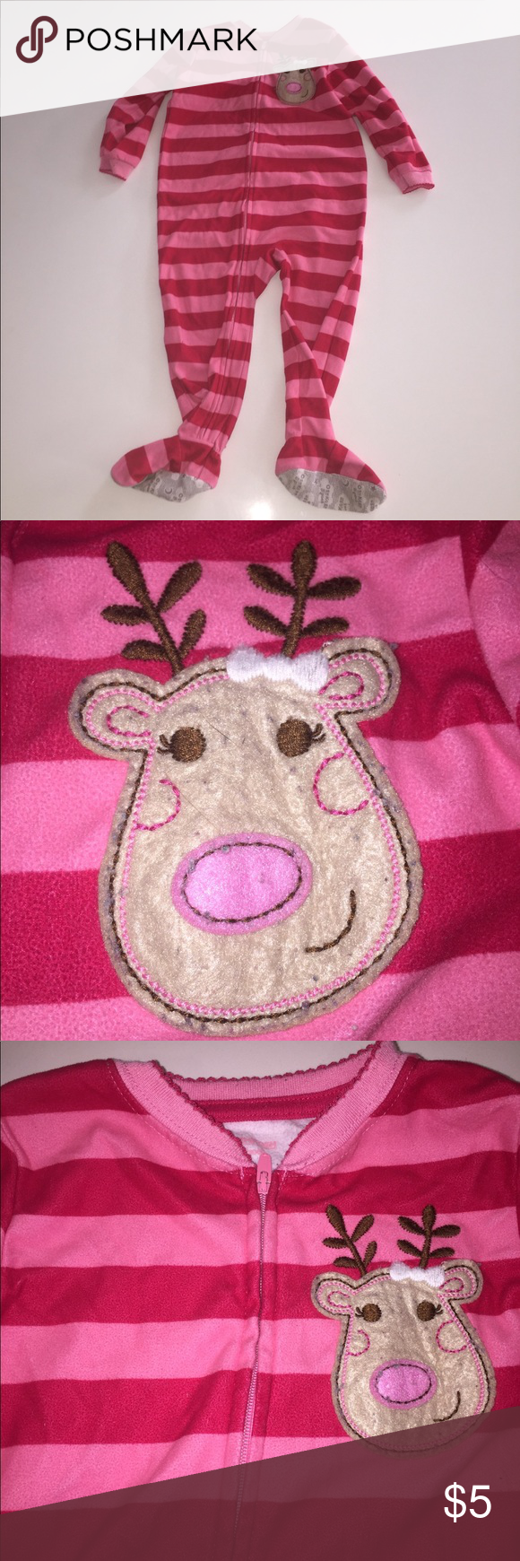 3dab2c0e8 Oshkosh b gosh reindeer striped footed pajamas 2t These have been ...