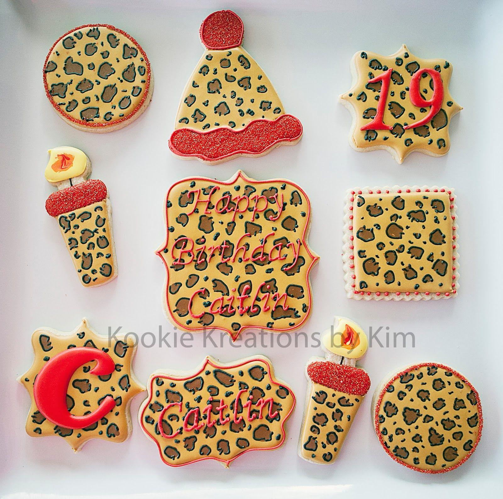 Kookie Kreations By Kim ~ Leopard Print Birthday Cookies