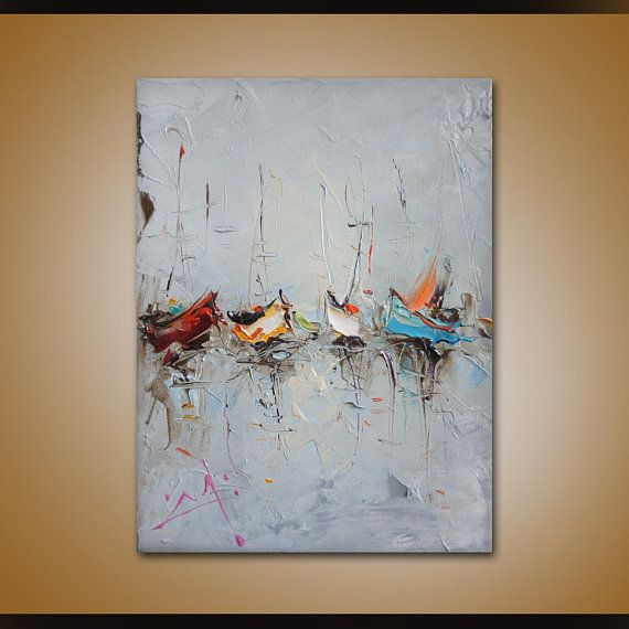 Sailboats Painting Abstract Art Oil Painting  Seascape
