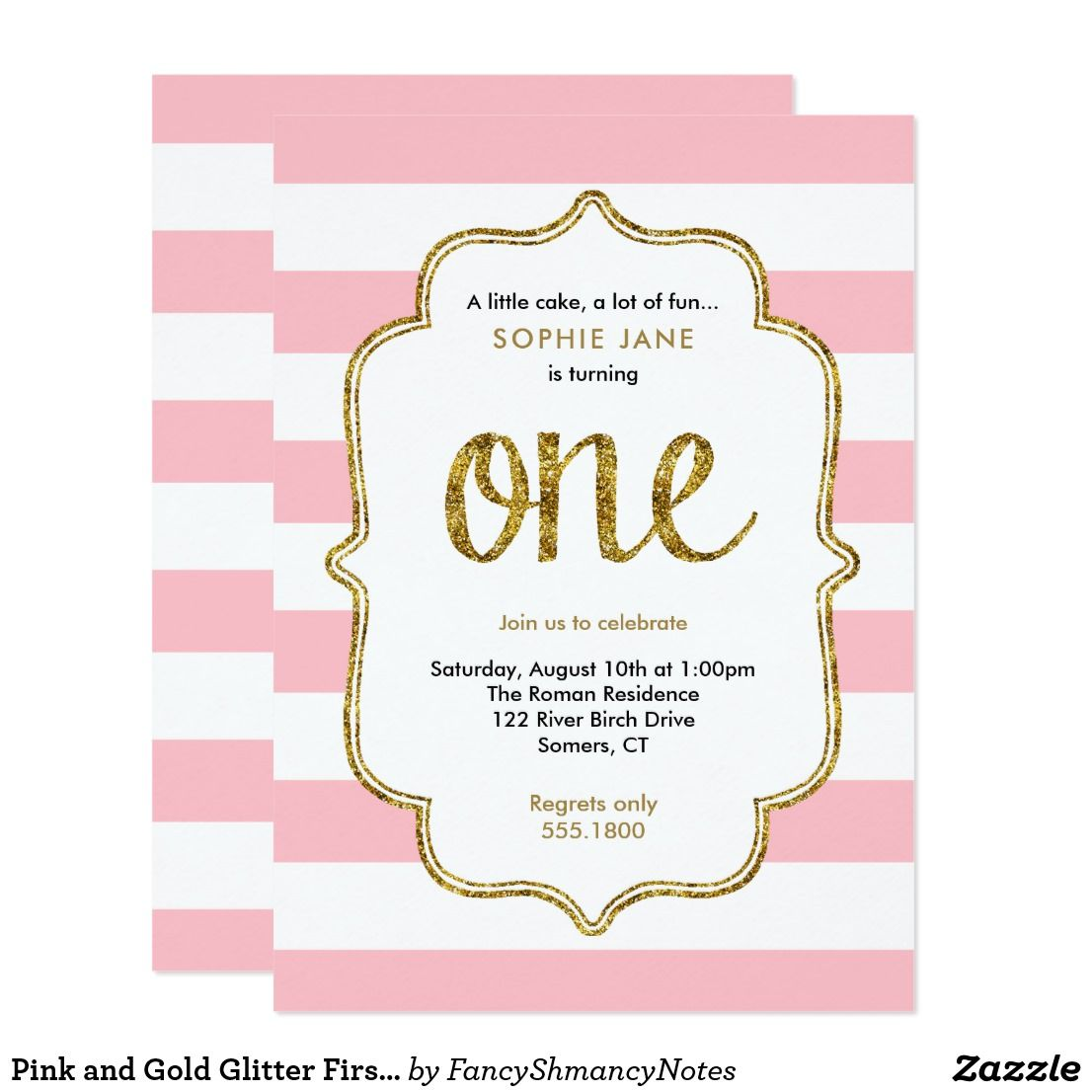 Pink and gold glitter first birthday invitation pink and gold glitter first birthday invitation pink stripes and gold glitter are featured on this stopboris Image collections