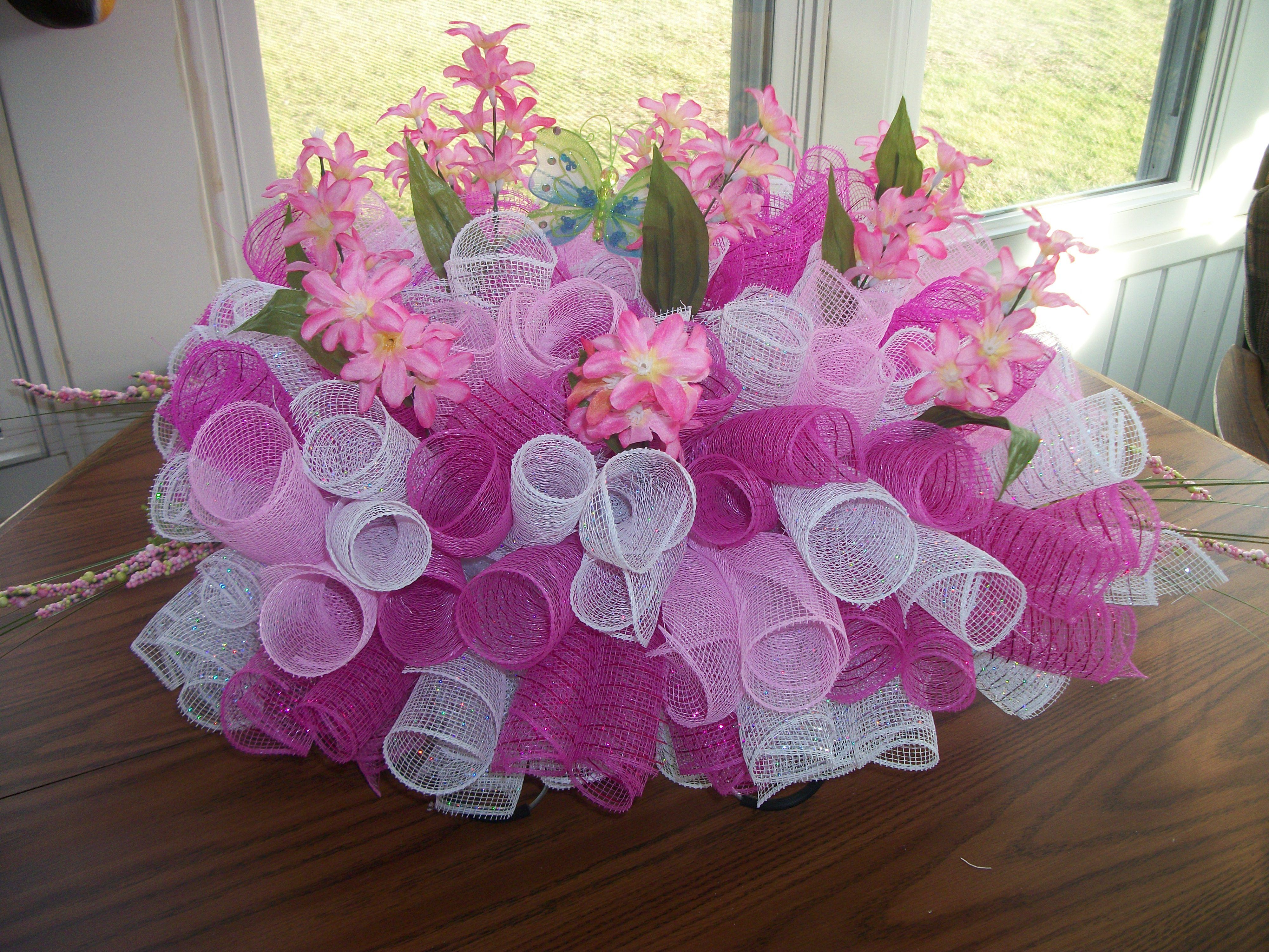 Mesh headstone saddle or centerpiece cemetery vases and