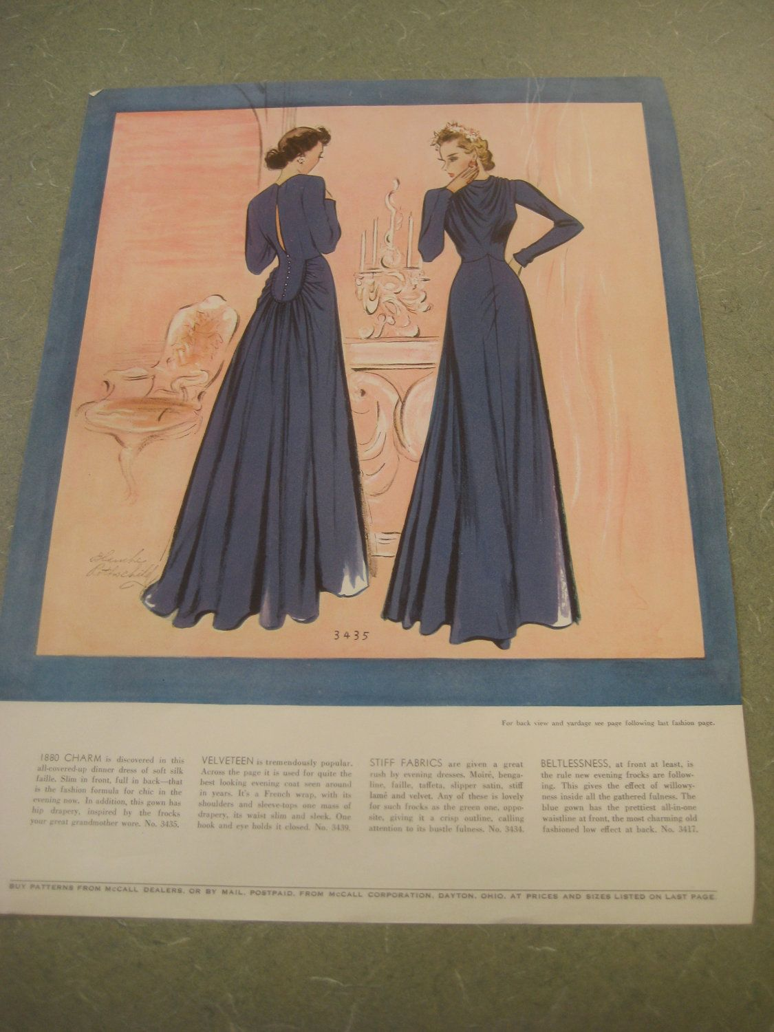 Vintage Dress Pattern Illustrations, 1930s Dresses from McCall's Pattern Book, Thirties Fashion, Two-Sided Page of Dresses. $8.50, via Etsy.
