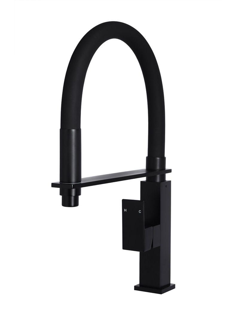 Flexible Matte Black Kitchen Mixer (MK05) | Robineterie et ...