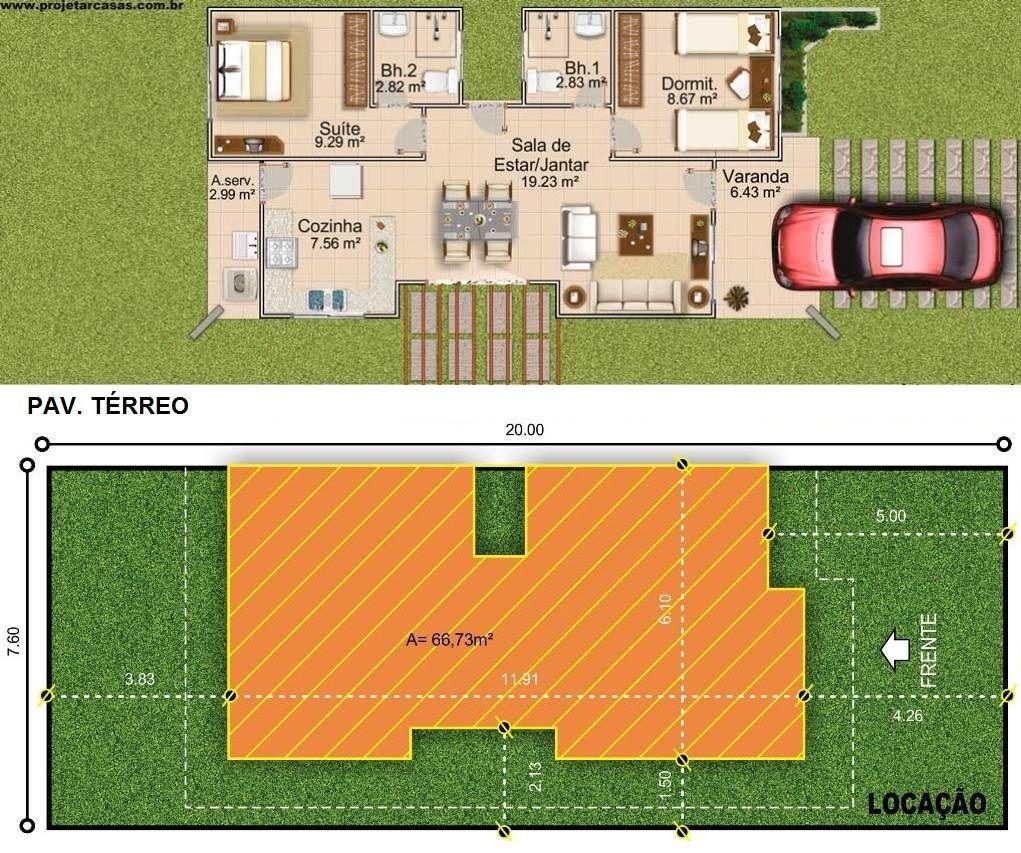 Projetar Casas | Projeto de casa térrea com 1 quarto, 1 suíte, varanda e cozinha americana - Cód 28