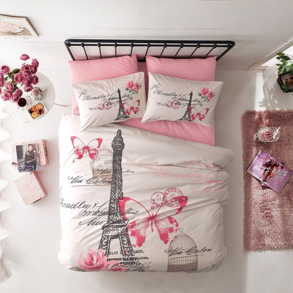 Butterfly Comforter Set Paris And Pink Roses Cotton Bed Set Duvet Cover Sets Bed Duvet Covers Cotton Comforter Set