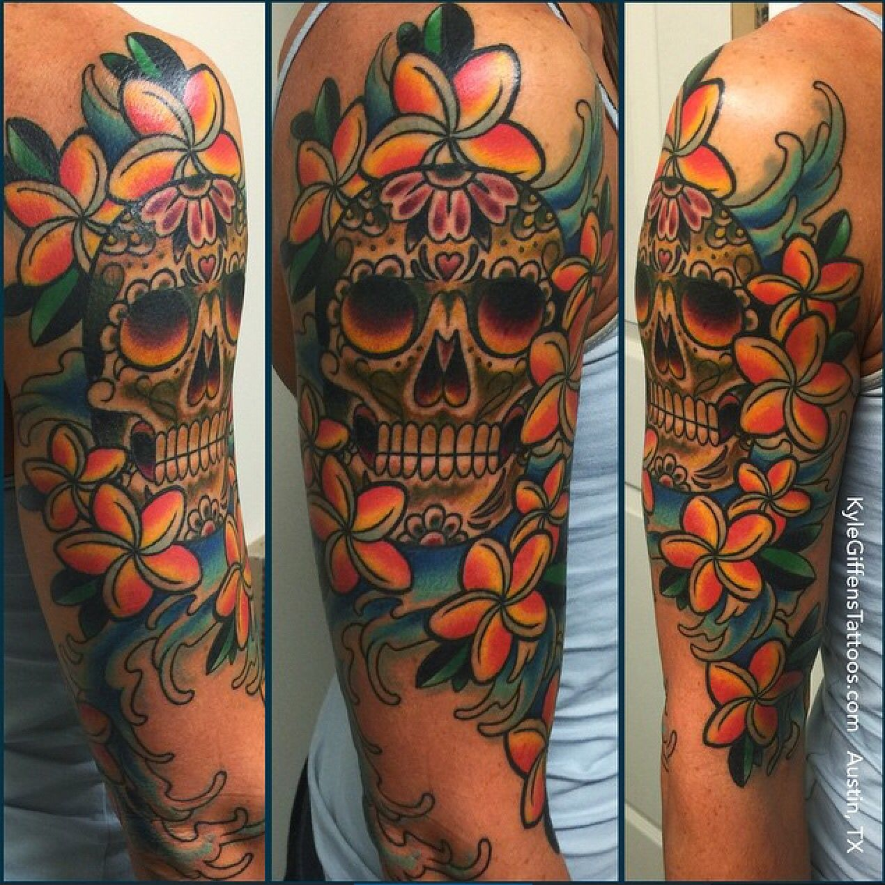 Sugar skull half sleeve by Kyle Giffen in Austin TX # ...