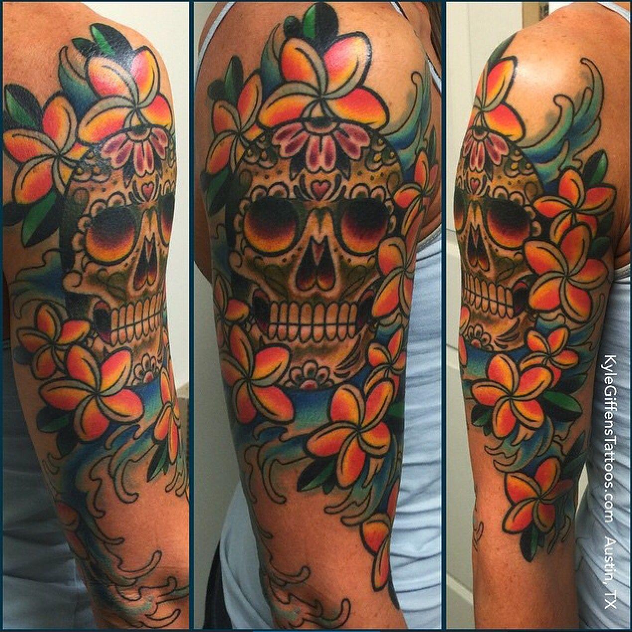 Sugar skull half sleeve by Kyle Giffen in Austin TX 👍