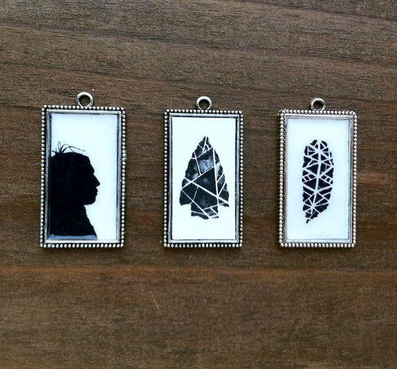 Buy Tribal Trio:  Tribal art pendant set / tribal jewelry set by prettyinc2. Explore more products on http://prettyinc2.etsy.com
