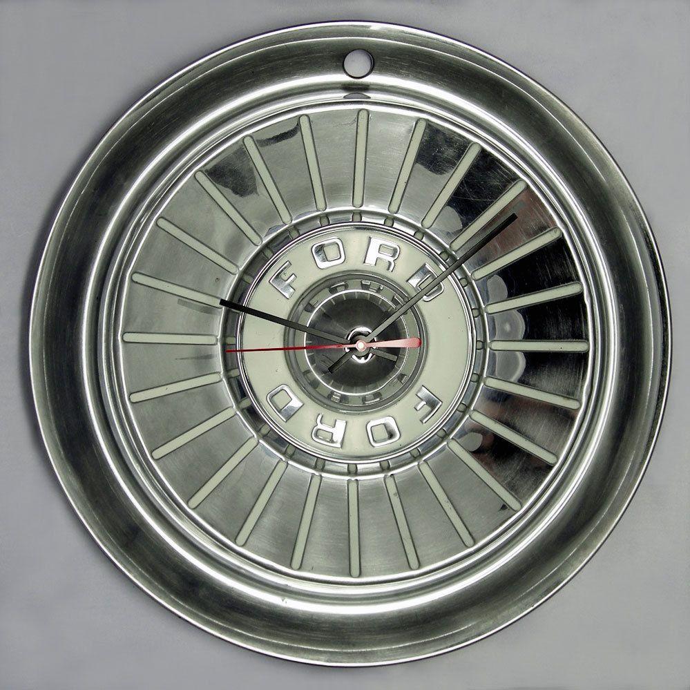 1957 Ford Thunderbird Fairlane Hubcap Wall Clock T Bird Retro Car