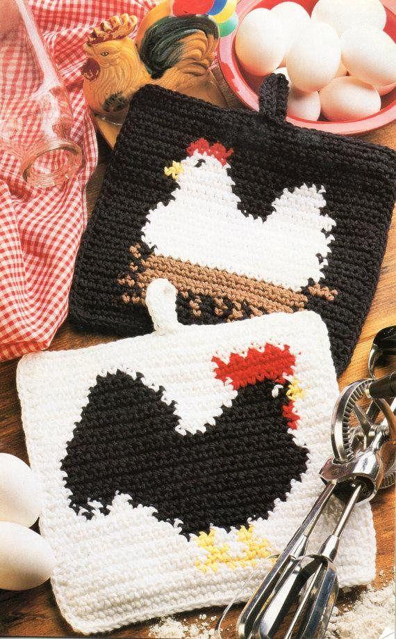 Vintage Crochet Pattern Country Chicken Potholders Pdf Instant