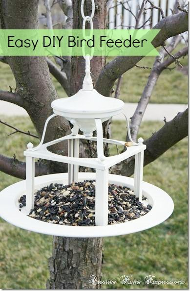 Upcycle a light into a birdfeeder bird feeder diy bird for Making a bird feeder out of recycled materials