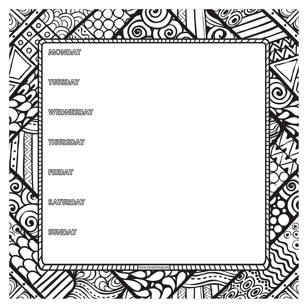 Tf Publishing Color Me Weekly Non Dated Adhesive Desk Pad 7 75 X 7 75 Black White Coloring Book Pages Hand Lettering Color Me