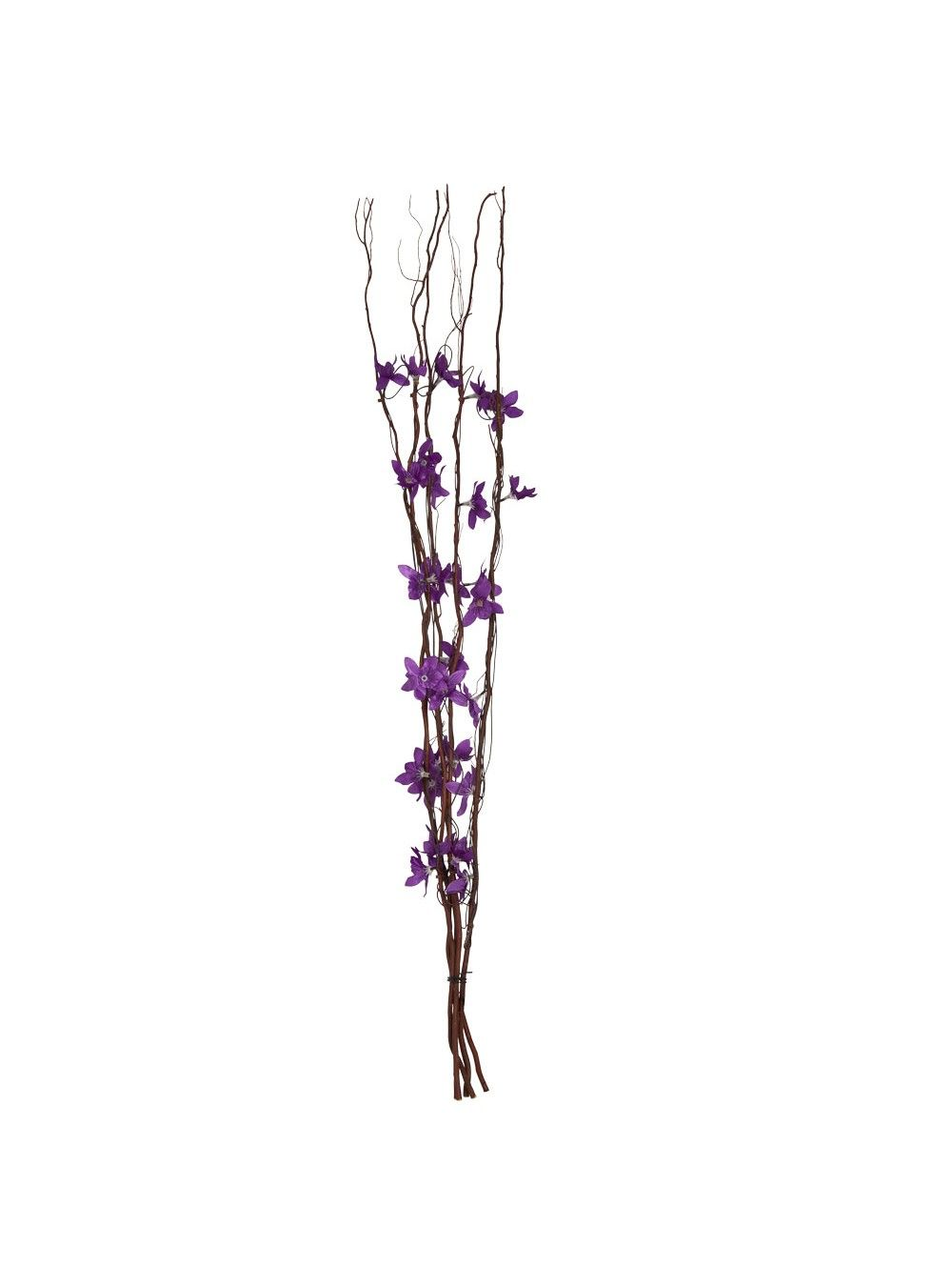 Decorative Brown Branch Twig LED Lights with Fabric Purple Flowers