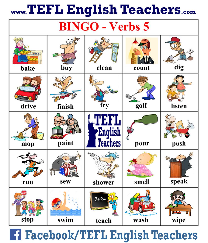 Tefl English Teachers Bingo Verbs Game Board 5 Of 20 Loteria En Ingles Juegos En Ingles Vocabulario En Ingles