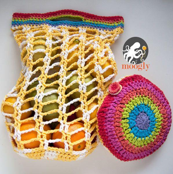 Rainbow Pocket Market Bag | Crochet | Pinterest | Bolsa de mercado ...