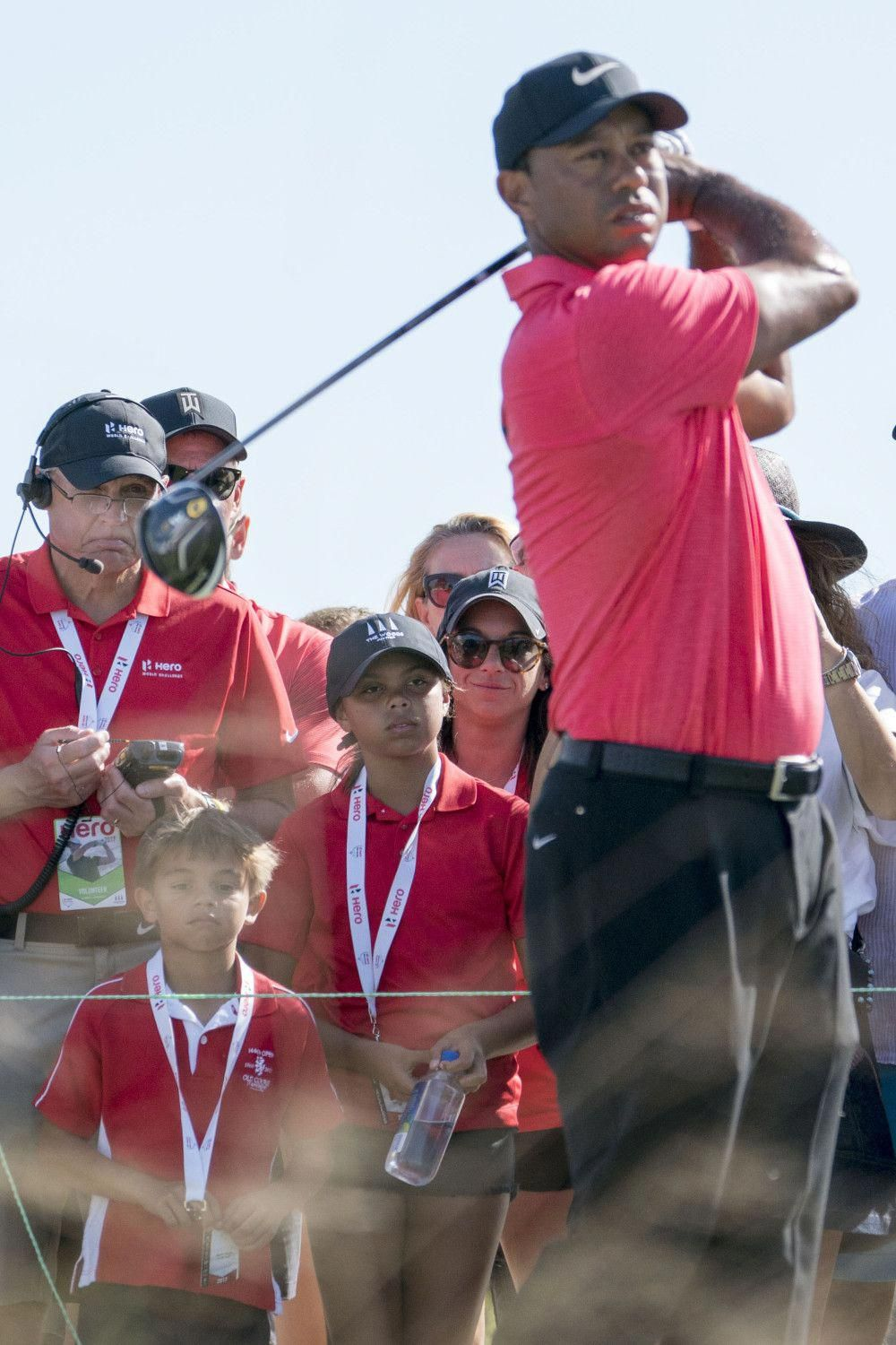 5c02b1137a93b Tiger Woods  kids and new girlfriend cheered his final round by wearing  matching outfits