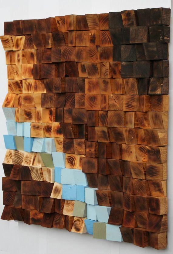 Stufa a legno recuperato arte della parete mosaico in for Parete a mosaico