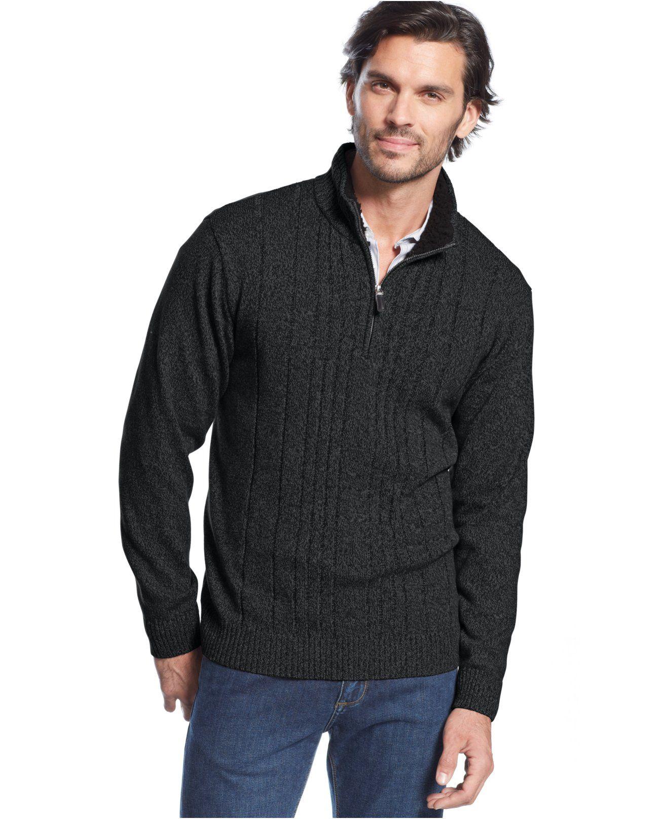852426d96 Tricots St. Raphael Faux-Shearling-Collar Quarter-Zip Sweater in Jet Marl  Size Medium  31.99 sale