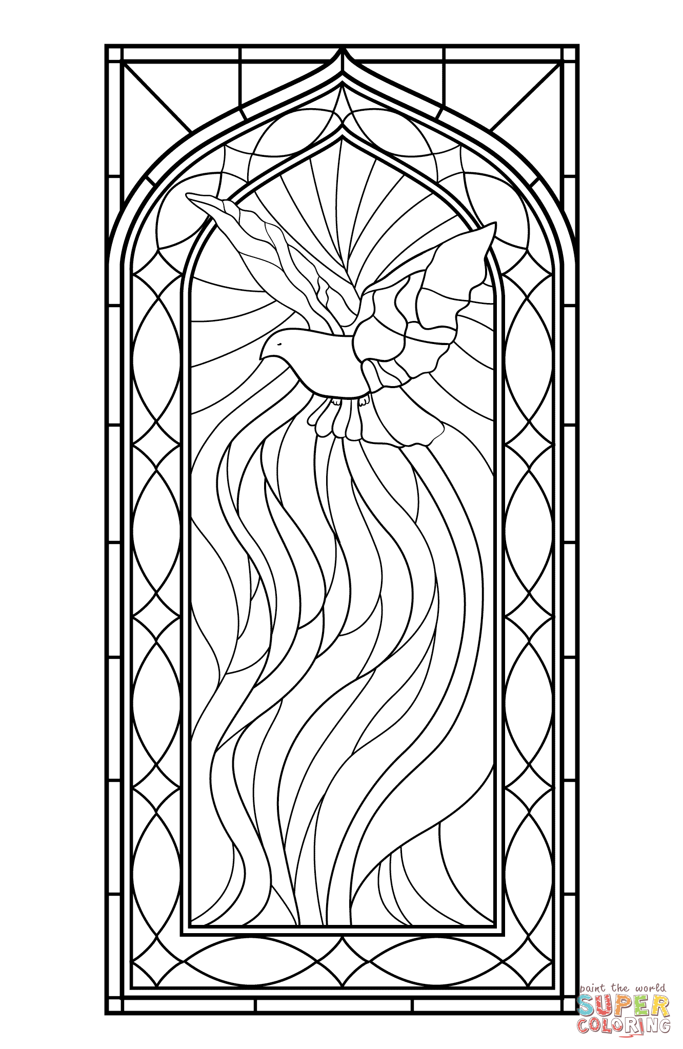Stained Glass Window With Holy Spirit Stained Glass Patterns Free Bible Coloring Pages Stained Glass Windows