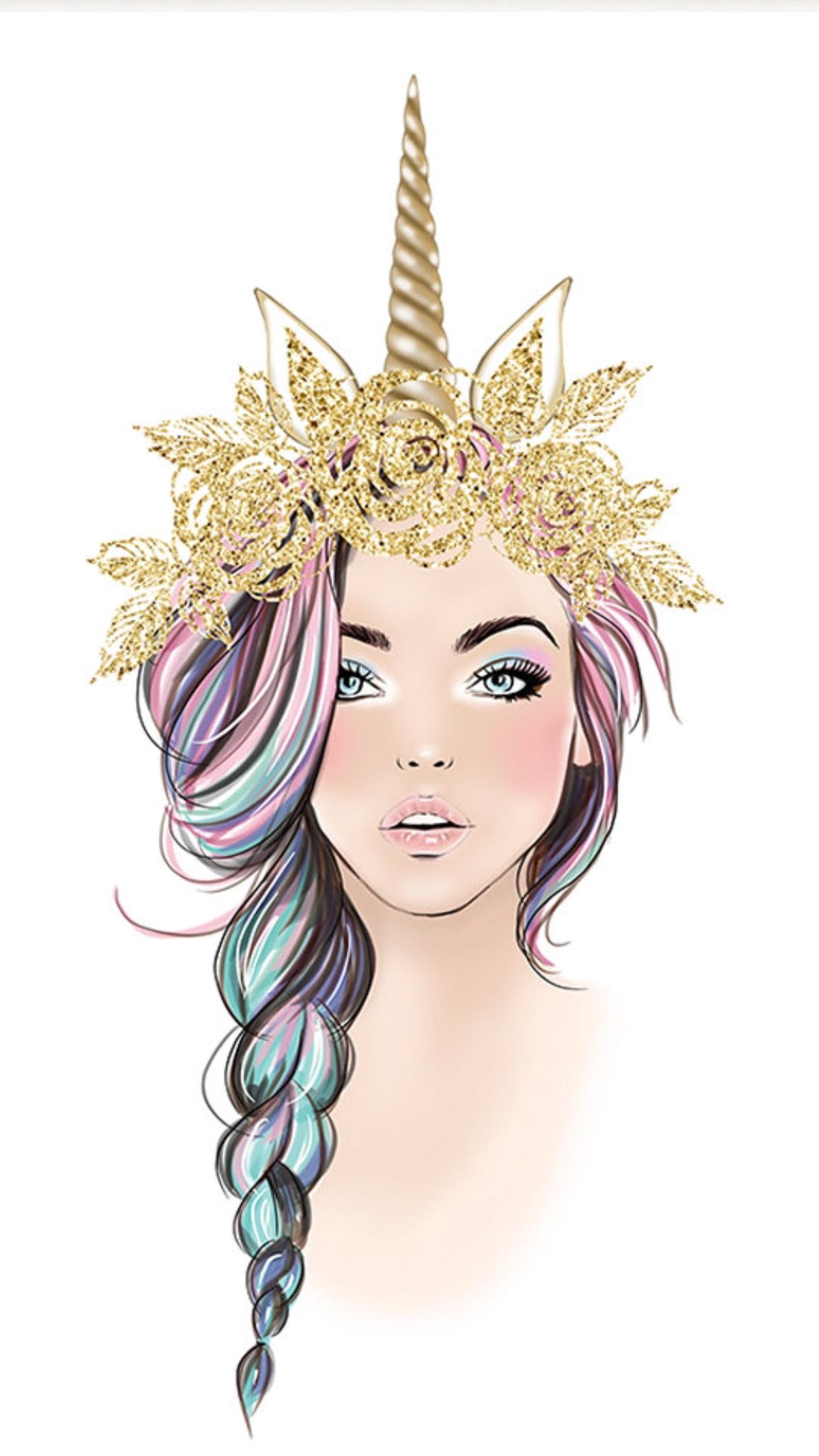 Unicorn girl in gold Unicorn drawing, Unicorn wallpaper
