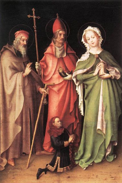 Stefan Lochner (German artist, 1400-1451) Saints Anthony the Hermit, Cornelius, Mary Magdalen Left hand wing of the two wings of the Altarpiece of the Last Judgement 1445